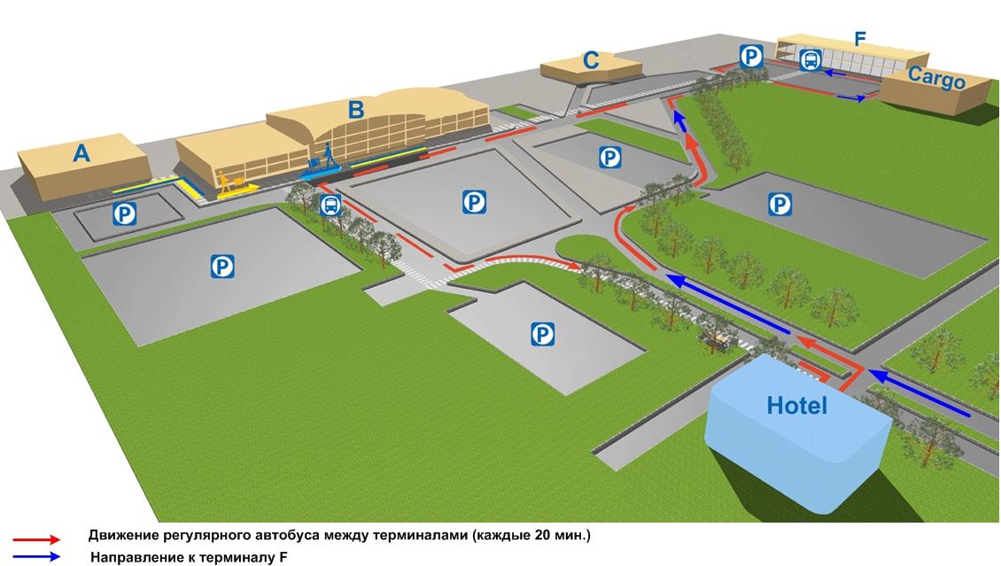 Схема подъезда к терминалу F,